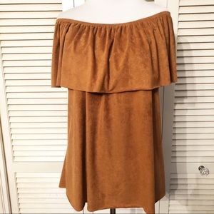Yessica | 🌺Camel Faux Suede Off Shoulder Blouse